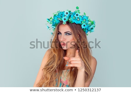 хиппи пальца точки хиппи девушки красочный Сток-фото © jarp17