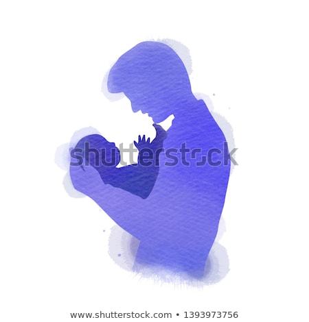siluet · ebeveyn · el · çocuk · küçük · aile - stok fotoğraf © paha_l