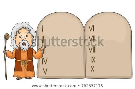 Cartoon Moses with the Ten Commandments stock photo © antonbrand