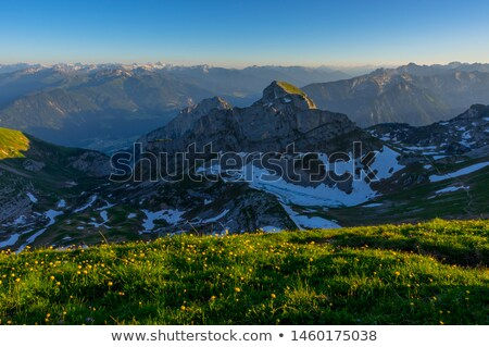 Dağ manzara dondurulmuş çim görmek orman Stok fotoğraf © bogumil