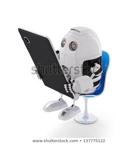 Android robot sitting with a Tablet Computer Stock photo © Kirill_M
