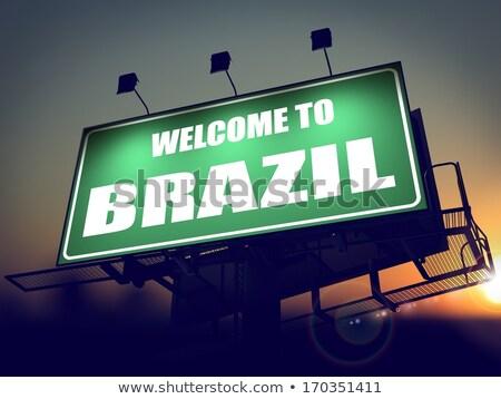 歓迎 ブラジル 看板 日の出 緑 ストックフォト © tashatuvango