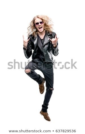 nehéz · rocker · tini · férfi · modell · hosszú · haj · pózol - stock fotó © Reaktori