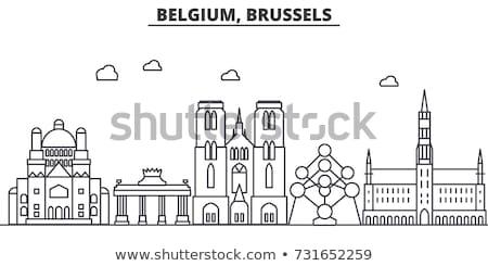művészetek · Brüsszel · Belgium · naplemente · ház · felhők - stock fotó © neirfy