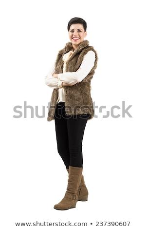ongelooflijk · jonge · vrouw · hoed · koud · dag - stockfoto © kor