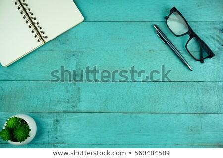 Blauw notebook hout kantoor boek school Stockfoto © tungphoto