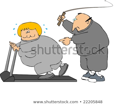 overweight man running on trainer treadmill stock photo © mikko
