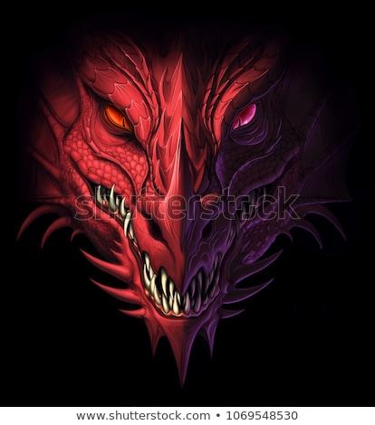 öfkeli ejderha siyah kabile stil siluet Stok fotoğraf © anbuch
