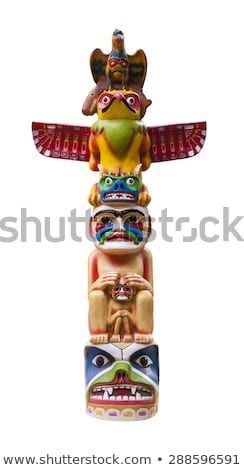 wooden indian statue isolated on white stock photo © anmalkov