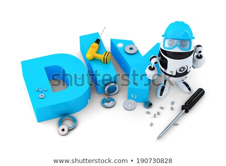 robot with diy sign technology concept isolated on white background contains clipping path stock photo © kirill_m