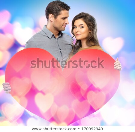 couple · papier · coeur · rouge - photo stock © nejron