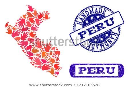 Peru piros pecsét felirat izolált fehér Stock fotó © tashatuvango