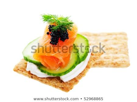 Kettő füstölz lazac barna kenyér krém sajt Stock fotó © raphotos