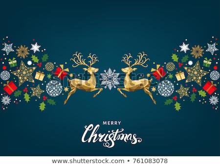 Gold holly Christmas card Stock photo © marimorena