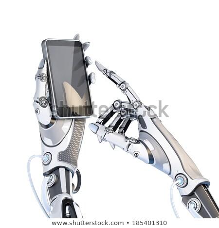 Mobieltje robot hand mobiele telefoon tekst Stockfoto © idesign