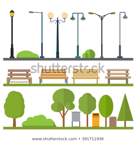 Park with benches and street lamps.  Stock photo © ddraw