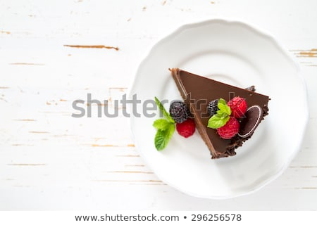 Fresh chocolate cake with raspberries Stock photo © raphotos