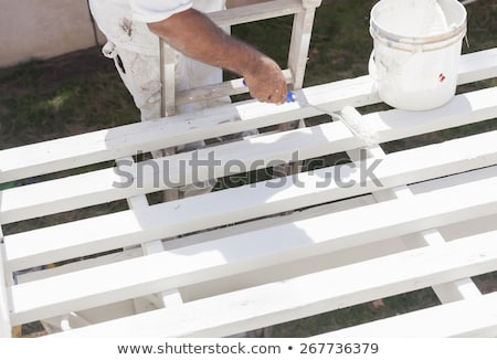 Painter Rolling White Paint Onto Top of Patio Cover Stock photo © feverpitch