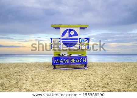 wooden beach hut in Art deco style im south beach  Stock photo © meinzahn