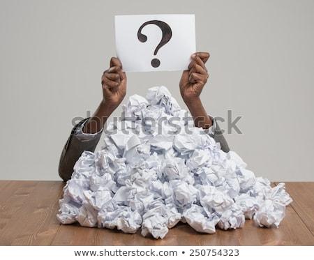 emberi · eltemetett · papírok · kék · iroda · pénzügy - stock fotó © hasloo