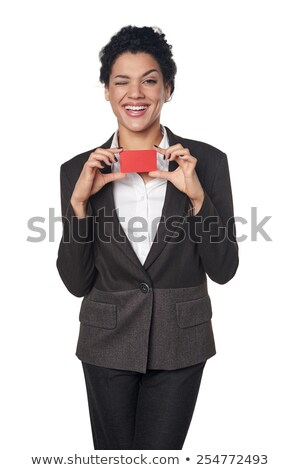 Smiling businesswoman giving business card at you isolated on a white background Stock photo © deandrobot