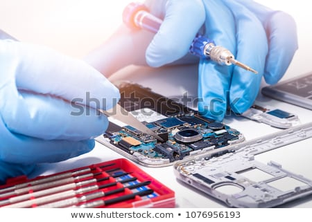 soldering, repair broken phone Stock photo © OleksandrO