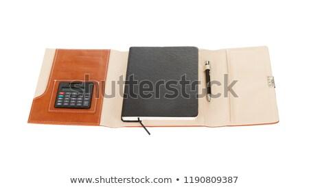 Klassiek leder notebook pen calculator voorraad Stockfoto © punsayaporn