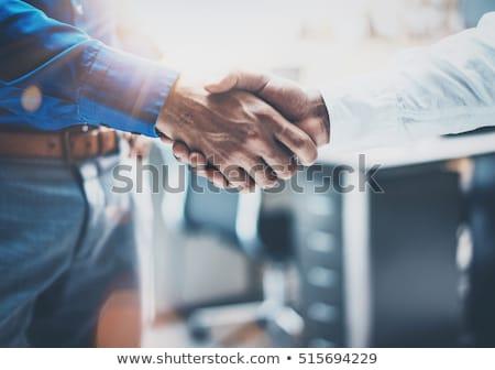двое мужчин рукопожатием соглашение мнение сидят таблице Сток-фото © ozgur