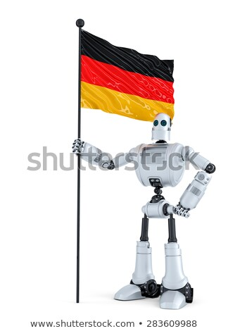 android robot standing with flag of germany isolated contains clipping path stock photo © kirill_m