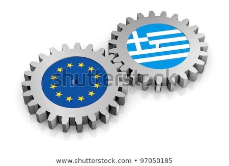 zászló · Görögország · hasonló · gazdaság · textúra · kereszt - stock fotó © lightsource