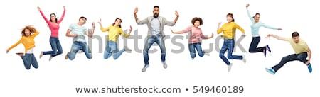 прыжки люди идиллический пейзаж женщину небе Сток-фото © ongap