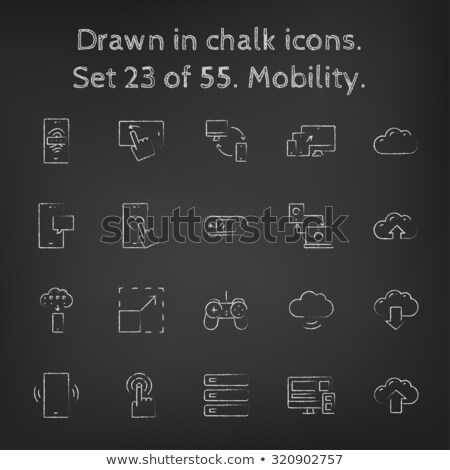 Telefon ujjlenyomat ikon rajzolt kréta kézzel rajzolt Stock fotó © RAStudio