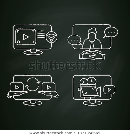 digital video camera icon drawn in chalk stock photo © rastudio