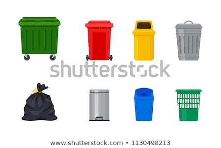 Cesto de lixo cozinha metal branco lixo plástico Foto stock © shutswis