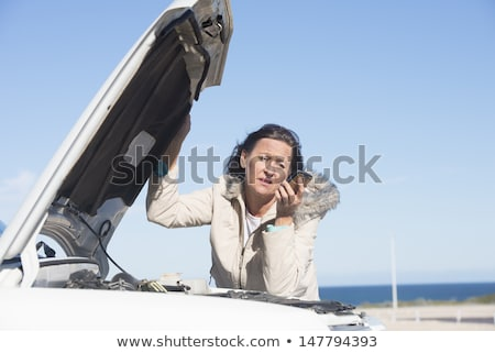 Woman car break down remote road stock photo © roboriginal