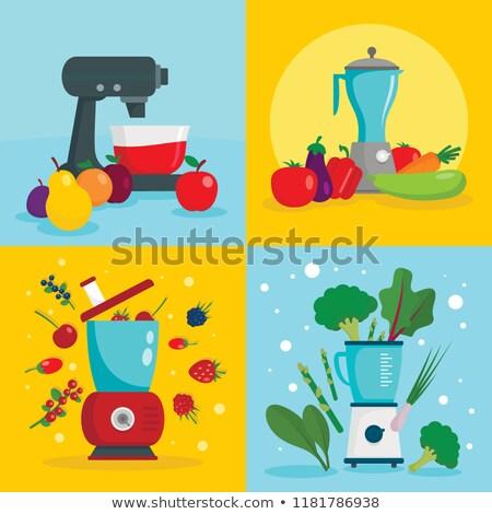 vector flat style white food processor illustration Stock photo © TRIKONA