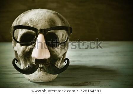 sahte · bıyık · burun · gözlük · ahşap · yüzey - stok fotoğraf © nito