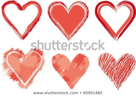 Rood potlood hart twee potloden schets Stockfoto © 3mc