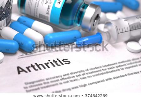 afgedrukt · diagnose · medische · oranje · stethoscoop · pillen - stockfoto © tashatuvango