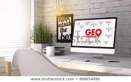 Célzás iroda dolgozik laptop képernyő üzlet Stock fotó © tashatuvango