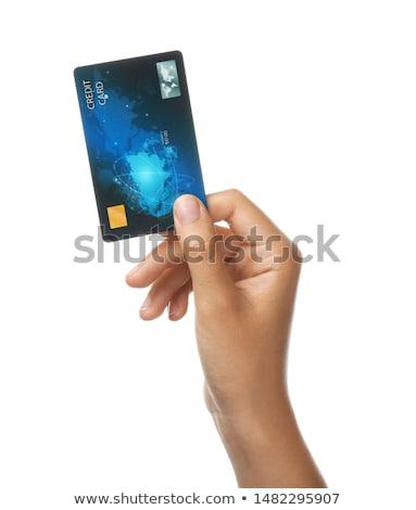 pagamento · cartão · de · crédito · belo · mulher · loira · mãos · café - foto stock © adrenalina