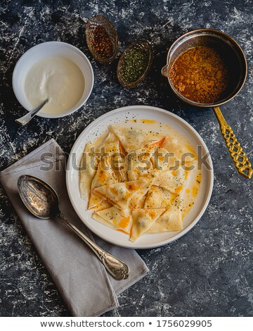 Turkish dumplings with yogurt dressing Stock photo © ozgur