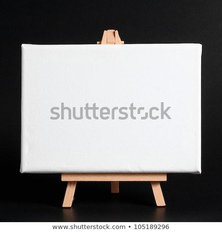 Ahşap şövale boş tahta yatay kara tahta Stok fotoğraf © make