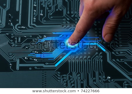 Macht vinger boord passief circuit board Blauw Stockfoto © your_lucky_photo