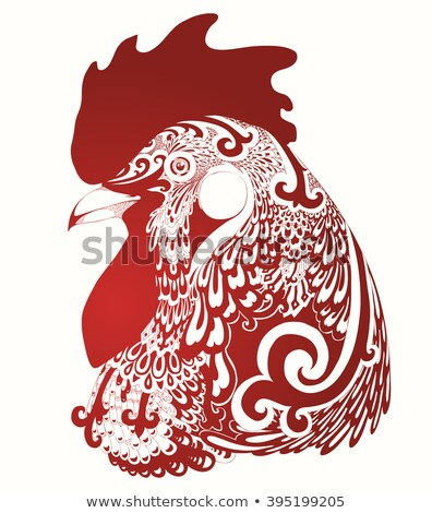 Rooster bird concept of Chinese New Year of the Rooster. Vector hand drawn sketch illustration. Stock photo © Hermione