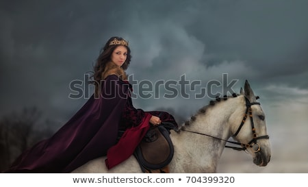 fille · cheval · illustration · coucher · du · soleil · cheval · couple - photo stock © fanfo