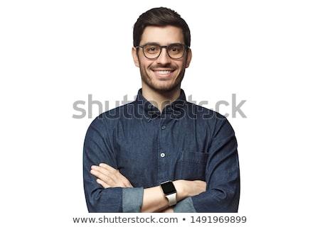 yakışıklı · genç · gözlük · gülümseme · moda - stok fotoğraf © zurijeta