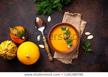 Pompoen soep witte houten tafel achtergrond najaar Stockfoto © Lana_M