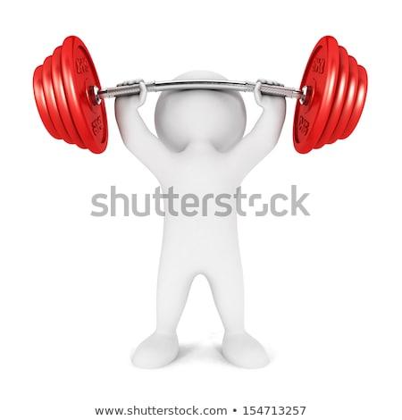 тяжелая атлетика 3D характер один белый Постоянный Сток-фото © make