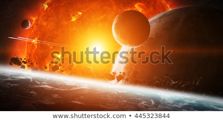 Exploding sun in space close to planet Earth Stock photo © sdecoret